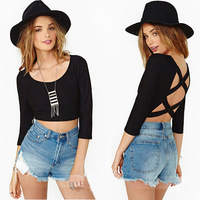 Cocktail Womens Crop Top Scoop Neck Backless Blouse Tops Hlaf Sleeve T Shirt Hot
