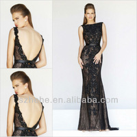 New Style CW1996 Elegant black sexy backless mermaid lace prom dress