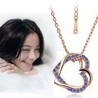 2014 New Style Hot Sale Fashion Double Heart-shaped Women Necklace XLK157