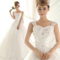 Double-shoulder spaghetti strap wedding  new 2015 bride gown princess  sweet wedding dress