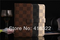 Luxury 3 colors Plaid Grain book Leather Flip stand Case holder case smart Cover for samsung galaxy S5 Free Shipping 10pcs/lot