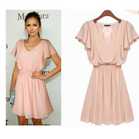 Women's Lotus Butterfly Sleeve Knee Length Plteated V-neck Slim Dress Pink S-XL European 2014 New Spring Summer