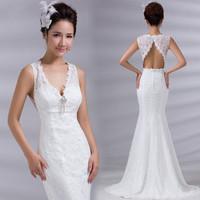 2015 new double-shoulder V-neck fish tail wedding dress formal dress diamond sexy plus size bride  mermaid wedding dresses