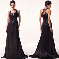 2014 Free Shipping 1pc/lot Elegant GK Cross back Satin Black Evening Gown CL6056