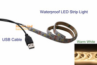 wholesale 2 pcs Led Strip Light 5050 Waterproof 50CM 1.65ft Warm White 5V+USB Port Cable U5W