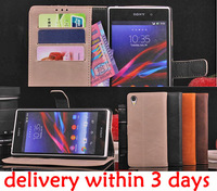 Retro Vintage Leather Wallet Purse Flip Stand business Card holders Magnet Smartphone Case Cover For Sony Xperia Z1 L39H