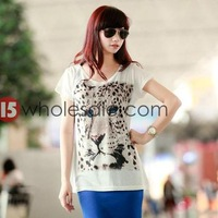 Summer Fashion Trend Tiger Print Cotton T-shirts Short Sleeve Loose Tees Casual Medium-long T-shirt Women Tops 8048