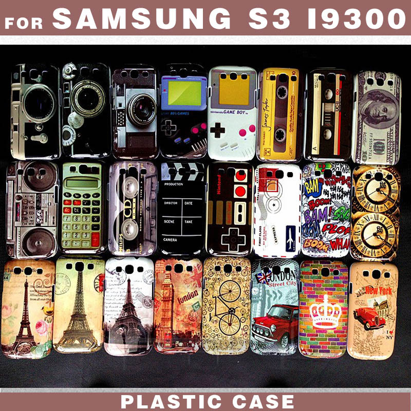 1pcs news pattern Camera game tapes dollar calculator Tower car Design for samsung S3 I9300 Plastic Phone Back Cover Case(China (Mainland))