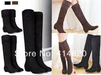 Free shipping 2014 New fashion women's Boots Elastic Knee-Length Long Barreled Boots Women's Shoes
