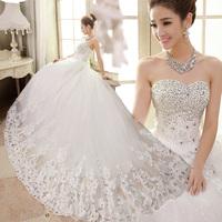 2014 spring luxury rhinestone princess tube top bandage train wedding dress