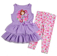 Free shipping NWT high quality 4sets/lot girl summer suits purple sofia princess sleeveless tunic lace top & flowers pants