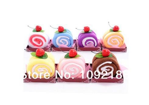 Free shipping Mini Swiss Roll Cake Towel Washcloth Soft Towel Wedding Birthday valentine gifts 20*20cm Towel(China (Mainland))
