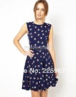 2014 HOT  Summer Women Dress,Sleeveless O-neck , Women Floral Summer Dress