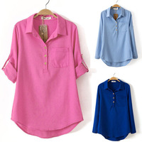 2014 Spring New Women's Fashion Shirt Candy Colored Casual Blouse Top Turn-down Collar 17218