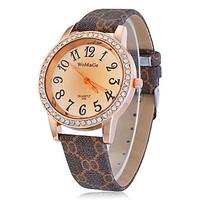 Vintage Floral Watch Women Wristwatch Full Imitation Diamond Watches Genunie Leather Strap Ladies Quartz Watch Free Shipping