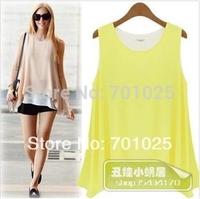 FREE SHIPPING 2014 Fashion women candy color sleeveless vest faux two piece set color block chiffon beach shirt