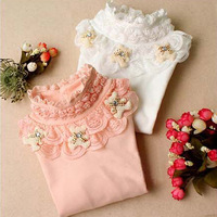 Teenage 2014 children's clothing female child spring and autumn basic shirt child long-sleeve T-shirt kids clothes