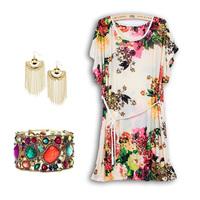 2014 Summer new  floral print  beach      beach    plus size loose vintage plaid blouse dress dot stripe