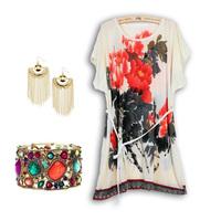 2014 Summer   flower bohemia  short-sleeve beach      plus size loose vintage plaid blouse dress dot stripe
