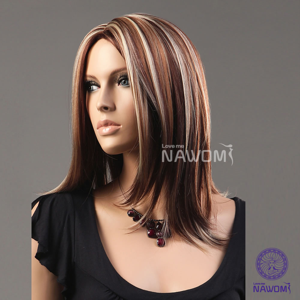 Blonde And Red Highlights In Dark Brown Hair 19 inches medium-length ...