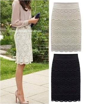 Women Knee Length Lace Pencil skirts Fashion saias femininas 2014 black beige female ...
