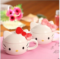Free shipping hello kitty mug Ceramic coffee with bowknot lid thermos cup 2 color options zakka hot drinks