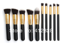 Free shipping Professional Makeup Brushes 10 pcs/lot Gold & Black Wooden Handle Synthetic Hair Cosmetic Set/ Kit Wholesale