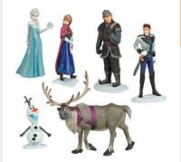 Free shipping 6pcs/lot 7-10CM New Movie Elsa Anna Olaf Kristoff Cartoon PVC action figures best children toys gifts