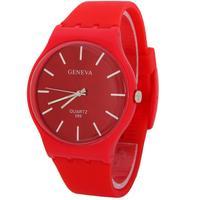Free Shipping Luxury Top Sale Stylish Men Fashion Silicone Thin Case 2014 Red Simple Design Quartz Wrist Watch