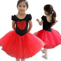 2014 New Arrival Kids Children's Short Sleeve Heart Embroidered Ball Gown Tutu Ballet Dance Dresses for Girls 2-5Years