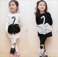 Children's clothing summer sets child swan female long sleeve t shirt+pants kids clothes girls clothing sets new 2014