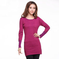 2013 autumn slim women's medium-long pullover long-sleeve o-neck sweater female basic sweater