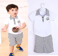 New 2014 summer handsome male child turn-down collar short-sleeve set casual twinset 5Pcs/Lot