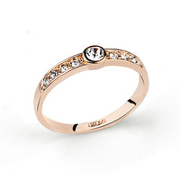 32124-NEW FASION Austrian Crystal   wedding Ring for WOMEN 18K Gold Plated Made with Genuine   W0holesale -2 COLOURSPRICE