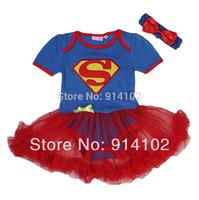 Baby Girl Romper Superman Short Sleeve Infant Dress Supergirl summer 2pcs set:Triangle Romper + Headband Halloween Baby colthing