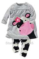 New 2014 Cute Cow T-Shirt Pants 2 Piece Girls Set Baby Suit Outfits Spring Autumn Kids Clothes Toddler Clothing Bebe Outerwear