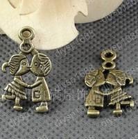60 pcs/lot Zinc alloy bead Antique Bronze Plated Charms Pendants Fit Jewelry findings 16*27MM Couple series Shape JJA2236