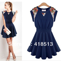 Fashion one-piece dress plus size 2014 spring and summer casual sleeveless lace decoration 100% cotton one-piece dress