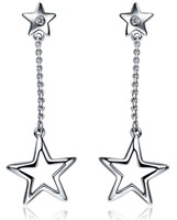 ZOCAI  STAR SHAPE 0.01 CT SI /  I-J DIAMOND SOLID 925 STERLING SILVER DROP EARRINGS