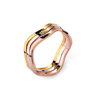 NEW FASION Austrian Crystal Wave Ring 3 laps   wedding Ring for WOMEN 18K Gold Plated Made with Genuine   W0holesale