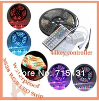 LED strip 3528 waterproof SMD 60LED/M  Strip Light with 44key IR remote controller free shipping