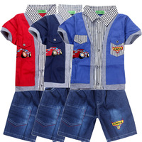 2014 summer Cartoon clothing set clothing wholesale children sets boys and girls kids sports blouse+jeans suit 4sets/lot