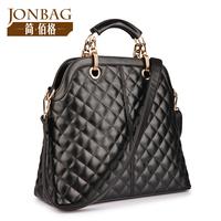2014 women's handbag dimond plaid women's handbag black bags large the trend female
