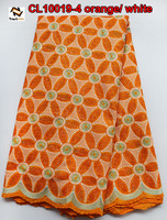 Fashion design orange fabric swiss voile lace of CL10019-4