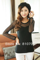 Net yarn splicing sexy lady lace bottoming shirt with long sleeves see-through blouses shirt