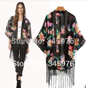 Free shipping brand Women floral print blouse elegant tassel Chiffon cape European style fashion woman kimono cardigan blouses(China (Mainland))