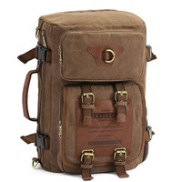 2014 New Casual Style Khaki Color Canvas Travel Duffle Bag For Men Large Travel Laptop Backpack Sports Gym Bag Hiking Backpacks