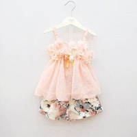 4 sets/lot 2014 summer hot sale girls fashion chiffon suit  flower vest+floral lace pants 213