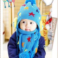 Kids Baby Winter Warm Beanie Five Pointed Star Crochet Earflap Hat Scarf+Cap Free&Drop shipping