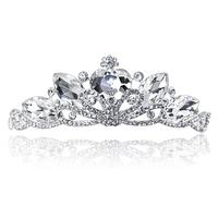 Colour bride peacock peach heart rhinestone married big hair accessory Wedding tiara crown headband Diadema Novia Strass coroa